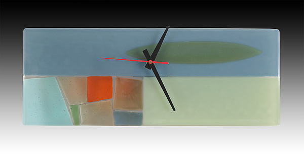 Midcentury Pastel Fused Glass Clock
