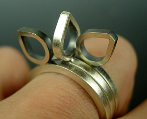Avocado Stacking Rings : Hilary Hachey: Silver Ring Set - Artful Home :  art stacking silver designers