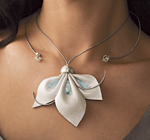Flower Pendant in White: Kathleen Lamberti: Silver, stone, and leather pendant - Artful Home