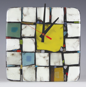 Tribeca: Yellow: Nina Cambron: Art Glass Clock - Artful Home :  tribeca art glass artists artful