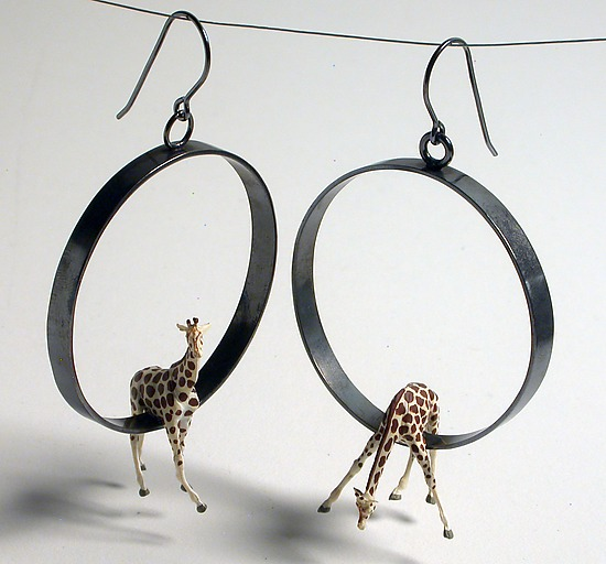 Giraffes in Large Circle Earrings