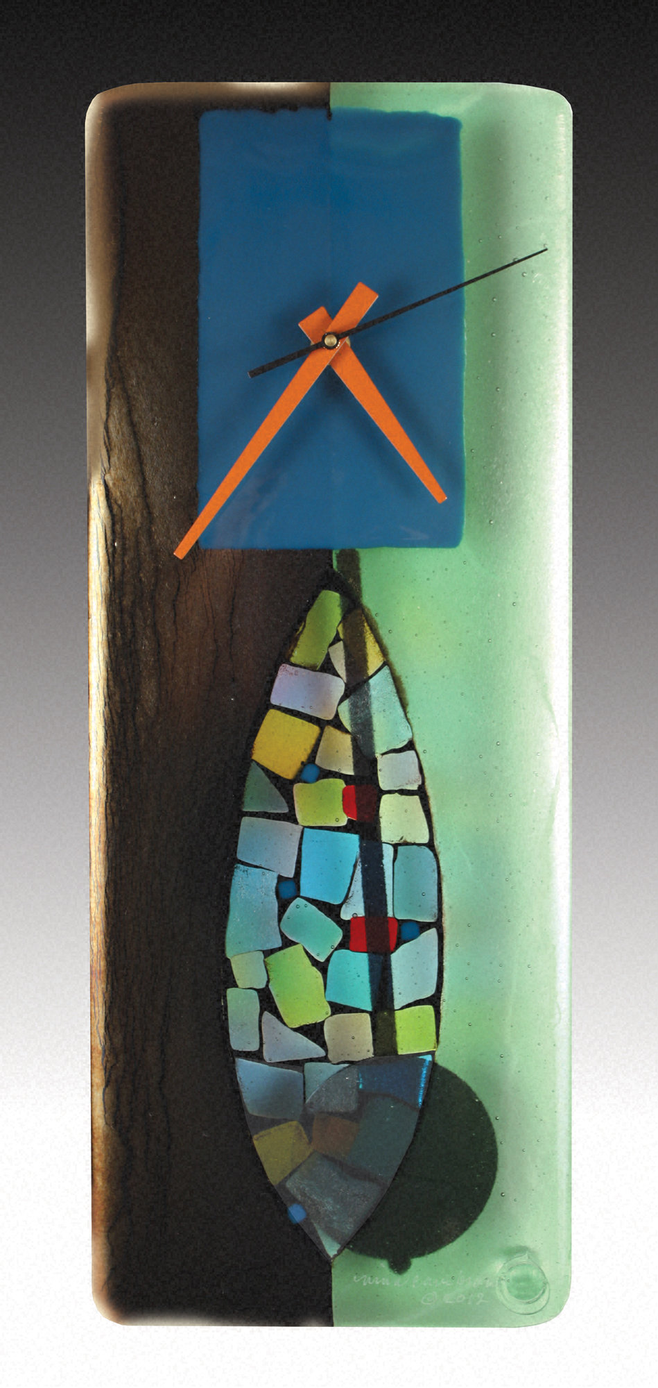 Portal Fused Glass Pendulum Clock By Nina Cambron Art