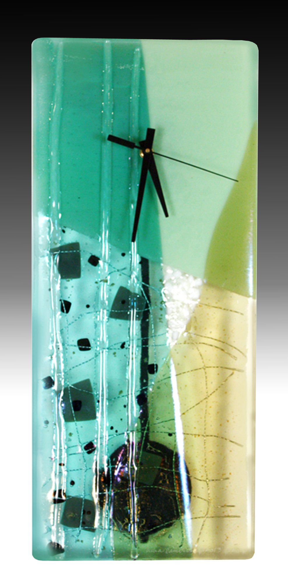 Jadite Pendulum Clock By Nina Cambron Art Glass Clock