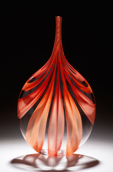 Red & Orange Cane Bottle
