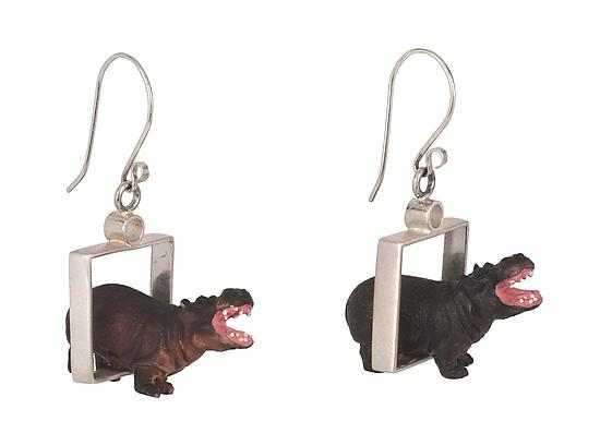 Hippos in Squares Earrings