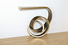 Nebula Table with Metallic Edge by Kino Guerin (Wood Console Table)