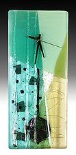 Jadeite Pendulum Clock by Nina  Cambron (Art Glass Clock)