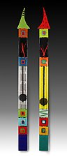 Top Hat Pendulum Clocks by Nina  Cambron (Art Glass Clock)
