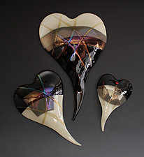 Neutral Palette Glass Wall Hearts by Nina  Cambron (Art Glass Wall Sculpture)
