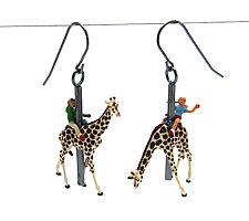 Giraffe Carousel Earrings by Kristin Lora (Silver Earrings)