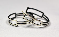 Box Hoops by Hilary Hachey (Silver Earrings)