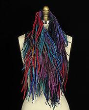 Fringe Pelt in Blue, Purple, and Ruby by Jenne Giles  (Silk & Wool Scarf)