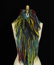 Fringe Pelt in Black, Blue, and Chartreuse by Jenne Giles  (Silk & Wool Scarf)