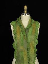 Ladder Scarf in Green by Jenne Giles  (Silk & Wool Scarf)