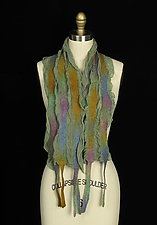 River Scarf in Green and Gold by Jenne Giles  (Silk & Wool Scarf)