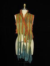 Long River Scarf in Orange, Green, Aqua by Jenne Giles  (Silk & Wool Scarf)