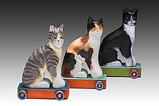Sitting Cats by Dona Dalton (Wood Sculpture)