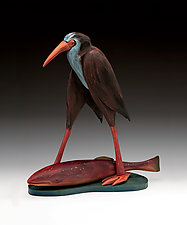 Walking Bird with Fish by Dona Dalton (Wood Sculpture)
