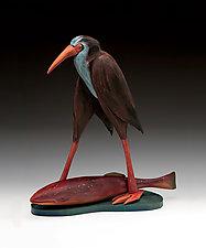 Walking Bird with Fish by Dona Dalton (Wood Sculpture)