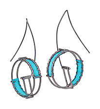 Wheel Earrings by Hilary Hachey (Silver & Fabric Earrings)