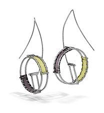 Wheel Earrings by Hilary Hachey (Silver & Fabric Earrings)
