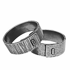 Oxidized Staple Band by Hilary Hachey (Silver Ring)