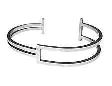 Square Wire Cuff by Hilary Hachey (Silver Bracelet)