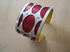 Medium Mod Ovals in Oxblood by Gogo Borgerding (Silver & Aluminum Bracelet)