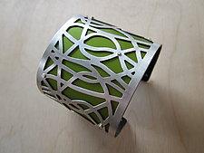 Large String in Lime Green by Gogo Borgerding (Silver & Aluminum Bracelet)