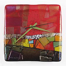 Border Town Art Glass Clock by Nina  Cambron (Art Glass Clock)