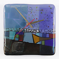 At the Lake Art Glass Clock by Nina  Cambron (Art Glass Clock)