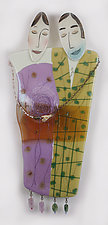 Passing the Time Art Glass Figures by Nina  Cambron (Art Glass Wall Sculpture)