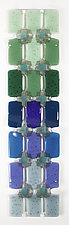 Embellished Graduated Grid Green to Blue by Nina  Cambron (Art Glass Wall Sculpture)