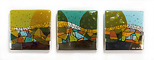Converging Colors Art Glass Triptych by Nina  Cambron (Art Glass Wall Sculpture)