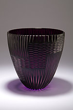 Wheel Cut Vase in Amethyst by Christopher Jeffries (Art Glass Vase)