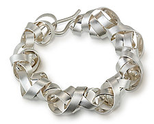 Wide Wrapped Ribbon Bracelet by Rina S. Young (Silver Bracelet)