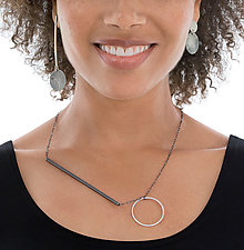 Oxidized Asymmetrical Jewelry by Rina S. Young (Silver Necklace and Earrings)