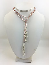 Pink Pearl Lariat by Rina S. Young (Silver & Pearl Necklace)