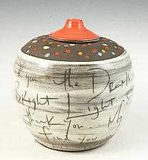 Thank You Jar in Dark Orange by Noelle VanHendrick and Eric Hendrick (Ceramic Vessel)