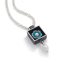 Black Box Square Necklace by Giselle Kolb (Silver & Pearl Necklace)
