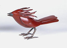 Small Red Bird in the Hand by Charles McBride White (Metal Sculpture)