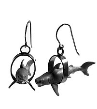Sharks in Oval Earrings by Kristin Lora (Silver Earrings)