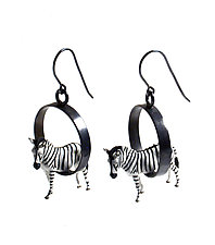 Zebras in Circles Earrings by Kristin Lora (Silver Earrings)
