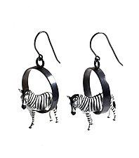 Zebras in Circles Earrings by Kristin Lora (Silver Earrings)