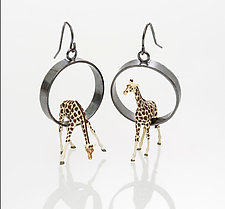 Giraffes in Circle Earrings by Kristin Lora (Silver Earrings)