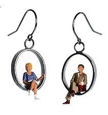 Sitting People Earrings by Kristin Lora (Silver Earrings)