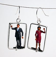 Barack and Michelle Obama by Kristin Lora (Silver Earrings)