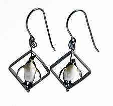 Penguin In Squares Earrings by Kristin Lora (Silver Earrings)