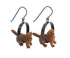 Golden Dog Earrings by Kristin Lora (Silver Earrings)