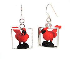 Red Cardinal Earrings by Kristin Lora (Silver Earrings)